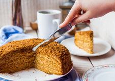 Cut the cake from the pastry with honey and sour cream Stock Image