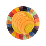 Cut cantaloupe slices on plate Royalty Free Stock Photos