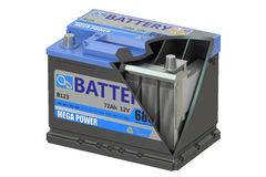 Cut of a car battery, 3D rendering Stock Photos