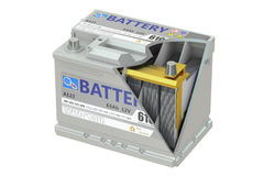 A cut of a car battery, 3D rendering Stock Photos