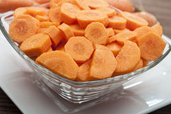 Cut carrot in bowl Royalty Free Stock Photo