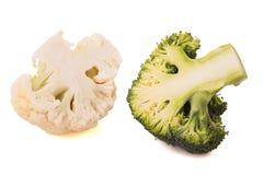 Cut cauliflower and broccoli Stock Photo