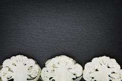Cut through cauliflower with copyspace. Royalty Free Stock Image