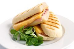 Cut cheese and ham toasted panini melt. On white plate with garn Royalty Free Stock Photography