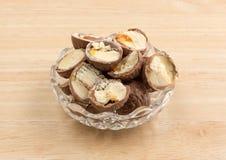 Cut chocolate hazelnut cream truffles in a bowl Stock Image