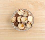 Cut chocolate hazelnut cream truffles in a bowl Royalty Free Stock Image