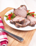 Cut chunk of roasted pork meat Royalty Free Stock Images