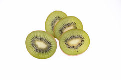 Cut circles kiwi isolated on white Stock Photo