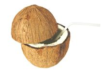 Cut coconut Stock Photo
