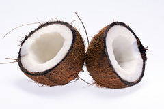 Cut coconut isolated on white background Royalty Free Stock Photography