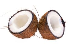 Cut coconut isolated on white background Stock Images