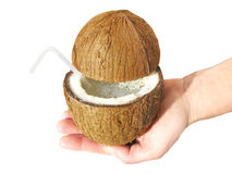Cut coconut with juice Royalty Free Stock Photography