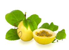 Cut and Complete Passion Fruit Isolated Stock Photos