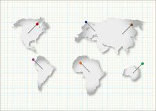 Cut continents Stock Photos