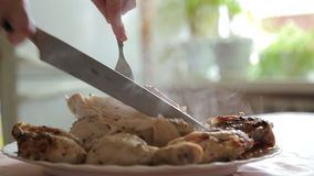 Cut the cooked chicken with a knife stock footage