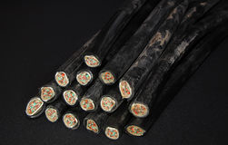 The cut copper cable. With aluminum sheath telephone lines Stock Photos