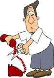 Cut the Cord. This illustration that I created depicts a man cutting the cord on a telephone Stock Images