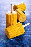 Cut corn on the cob on a stick Royalty Free Stock Photos
