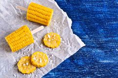 Cut corn on the cob Stock Images