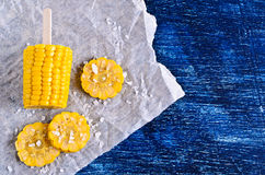 Cut corn on the cob Royalty Free Stock Image