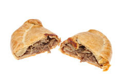 Cut Cornish pasty Stock Images