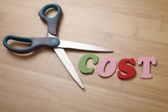 Cut cost. The concept of the cutting cost Stock Photo
