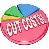 Cut Costs Pie Chart Reduce Overhead Debt. The words Cut Costs on a pie chart to symbolize the need to reduce overhead and debt burdens to increase profitability Stock Images