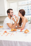 Cut couple drinking champagne together Stock Photo