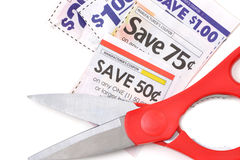 Cut Coupons. Grocery coupons and close of scissors Royalty Free Stock Images