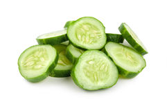 Cut cucumber isolated Royalty Free Stock Photos