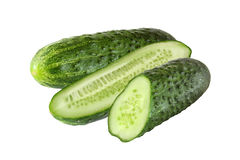 Cut cucumbers isolated. On white background Royalty Free Stock Photos