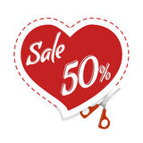 Cut Cupid for discounts. Cutting sticker discounts. Sale banner red heart, scissors. Sale and special offer. Up to 50 off vector illustration
