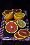 Cut different kind of oranges Royalty Free Stock Image