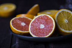Cut different kind of oranges Royalty Free Stock Photography