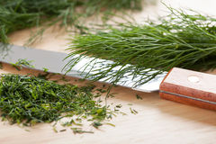 Cut dill and knife Stock Images