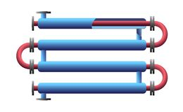 Cut Double Pipe Heat Exchanger. Apparatus for chemical processing. Pipe-in-pipe, tube in tube structure heat exchanger vector illustration