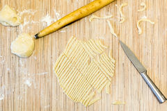 Cut the dough noodles top view Stock Photos