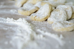 The cut dough to floured rolling. Stock Photography