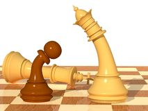 Cut down. Three-dimensional scene with chessmen of a queen, a pawn and king Royalty Free Illustration