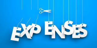 Cut Expenses. Symbolizes discounts and prices drop. White word expenses suspended by ropes on blue background Stock Photos