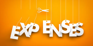 Cut Expenses. Symbolizes discounts and prices drop. White word expenses suspended by ropes on orange background Royalty Free Stock Photos