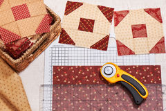 Cut fabric for sewing quilt blocks, pile ready blocks Stock Photo