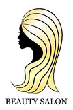 Cut female profile with golden hair for spa and beauty salon decoration Stock Photography
