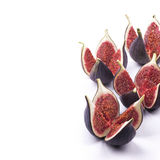 Cut figs on white. Background Royalty Free Stock Photo