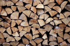 Cut firewood stack logs as pattern Stock Image