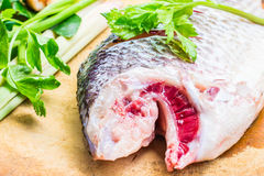 Cut fish heads  preparation of food. Stock Images