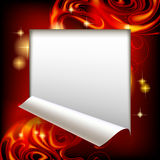 Cut framed paper sheet with red abstract luminous fantasy backgr Royalty Free Stock Photos