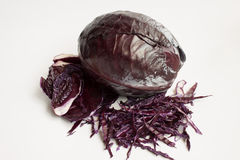 Cut fresh dark blue cabbage Stock Photos