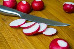 Cut fresh radishes to prepare a variety of dishes.  Stock Image