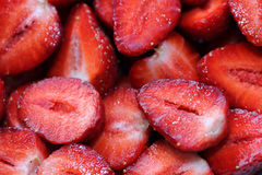 Cut fresh strawberries Stock Photography